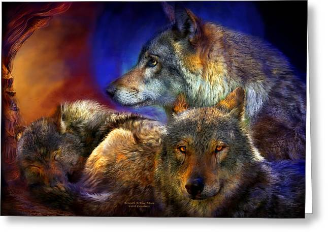Wildlife Art Greeting Cards Greeting Cards - Beneath A Blue Moon Greeting Card by Carol Cavalaris