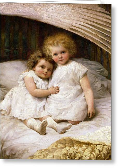 Kid Paintings Greeting Cards - Beneath the Wing of an Angel Greeting Card by William Strutt