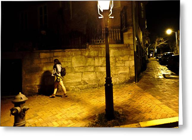 Film Noir Greeting Cards - Benefit Street at Night Greeting Card by Vicki Jauron