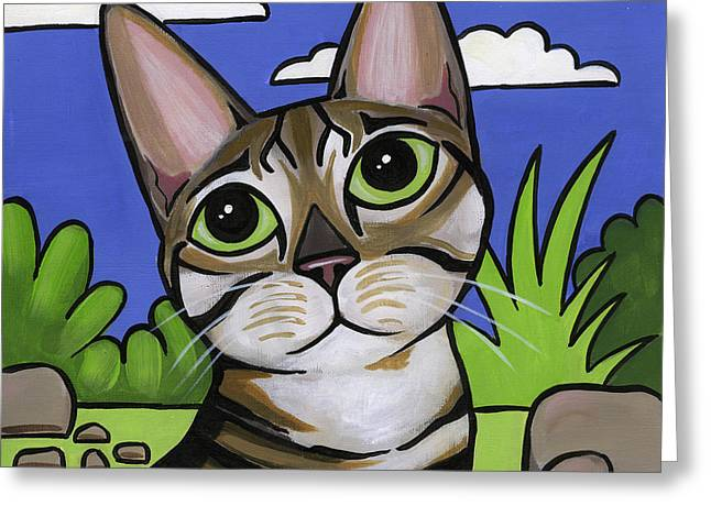 Cat Breeds Portraits Greeting Cards - Bengal Beauty Greeting Card by Leanne Wilkes