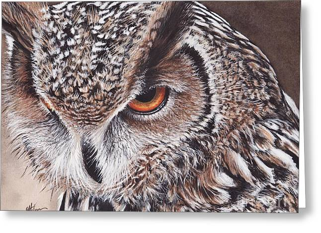 Owl Eyes Greeting Cards - Bengal Eagle Owl Greeting Card by Greg Halom