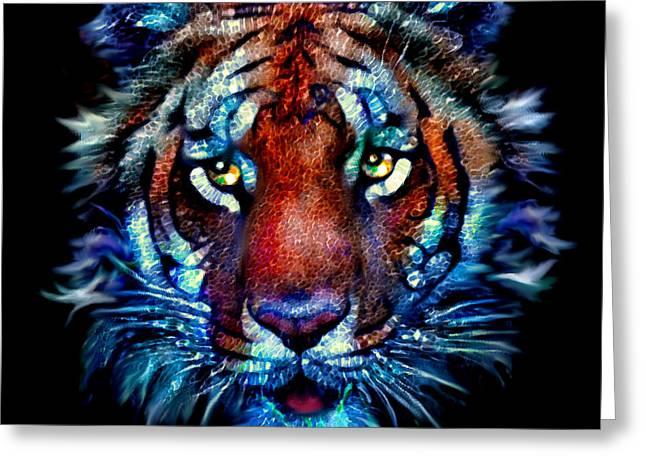 Elinor Mavor Greeting Cards - Bengal Tiger Portrait Greeting Card by Elinor Mavor