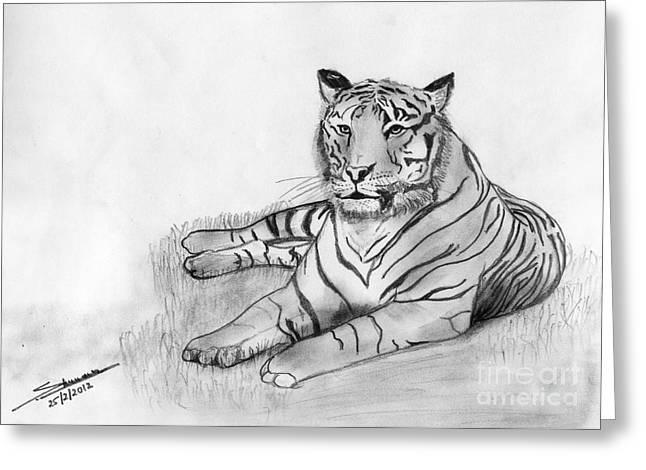 Shashi Kumar Greeting Cards - Bengal Tiger Greeting Card by Shashi Kumar