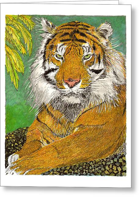 The Tiger Mixed Media Greeting Cards - Bengal Tiger with green eyes Greeting Card by Jack Pumphrey