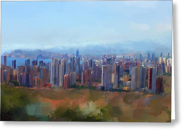 Patricia Mixed Media Greeting Cards - Benidorm Skyline Greeting Card by Michael Greenaway