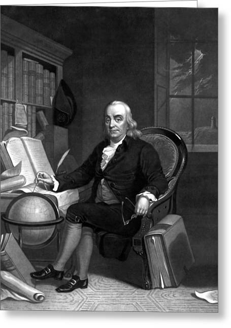 Revolutionary War Drawings Greeting Cards - Benjamin Franklin -- The Scientist Greeting Card by War Is Hell Store