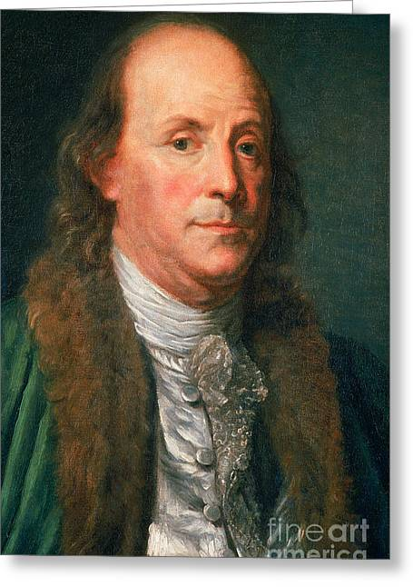 Spokesman Greeting Cards - Benjamin Franklin, American Polymath Greeting Card by Photo Researchers