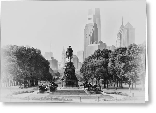 Benjamin Franklin Parkway Greeting Cards - Benjamin Franklin Parkway in Black and White Greeting Card by Bill Cannon