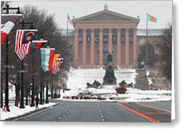 Philadelphia Phillies Art Greeting Cards - Benjamin Franklin Parkway Panorama Greeting Card by Bill Cannon