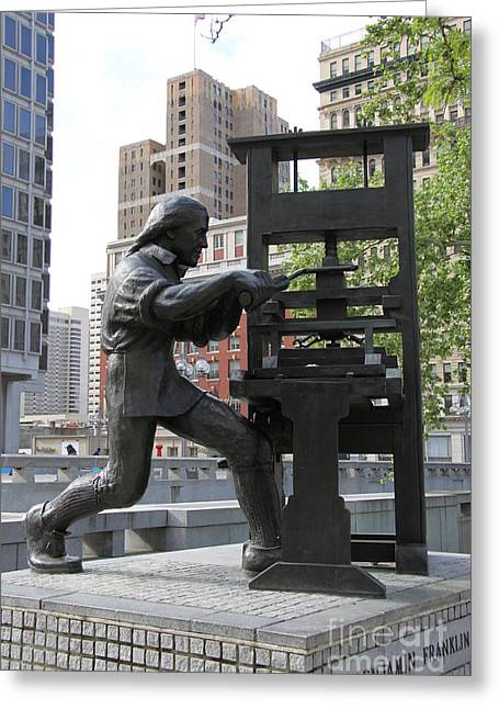 Benjamin Franklin Statue - Philadelphia Greeting Card by Christiane Schulze Art And Photography