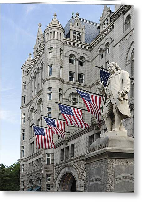 Flags Flying Greeting Cards - Benjamin Franklin Statue in front of The Old Post Office - Washington DC Greeting Card by Brendan Reals