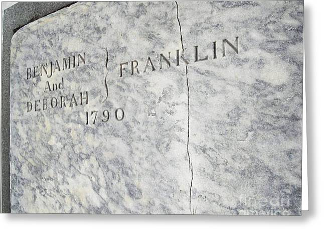 Downtown Franklin Greeting Cards - Benjamin Franklins Grave Greeting Card by Snapshot  Studio