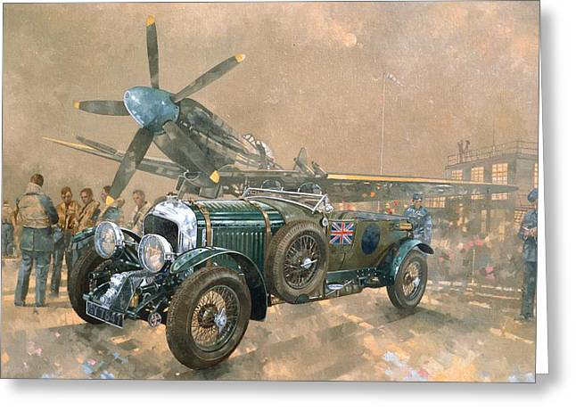 Spitfire Greeting Cards - Bentley and Spitfire Greeting Card by Peter Miller