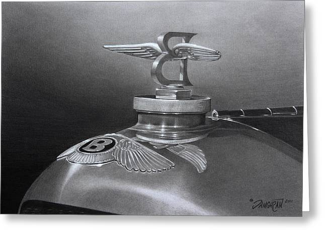 Graphite Drawing Greeting Cards - Bentley Corsica Coupe  Greeting Card by Tim Dangaran