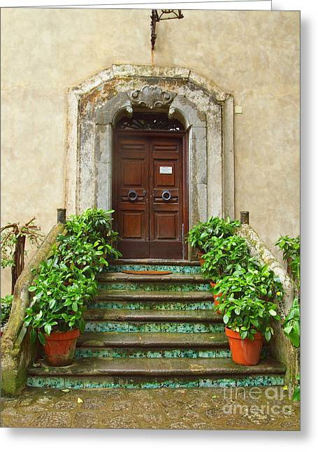 Wooden Stairs Greeting Cards - Benvenuto Greeting Card by Joyce Hutchinson