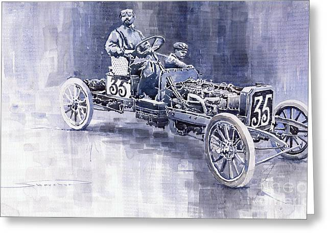 Oldtimer Greeting Cards - Benz 60HP Targa Florio Rennwagen 1907 Greeting Card by Yuriy  Shevchuk