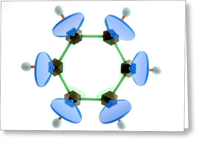 Bonding Greeting Cards - Benzene Molecule Greeting Card by Lawrence Lawry
