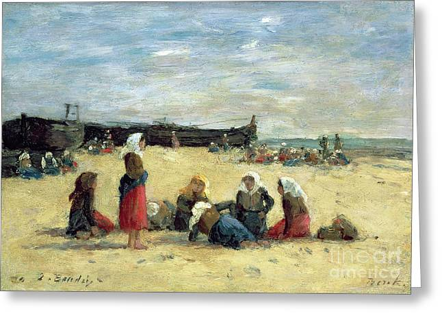 Boudin Greeting Cards - Berck - Fisherwomen on the Beach Greeting Card by Eugene Louis Boudin