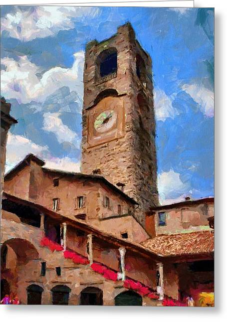Citta Alta Greeting Cards - Bergamo Bell Tower Greeting Card by Jeff Kolker