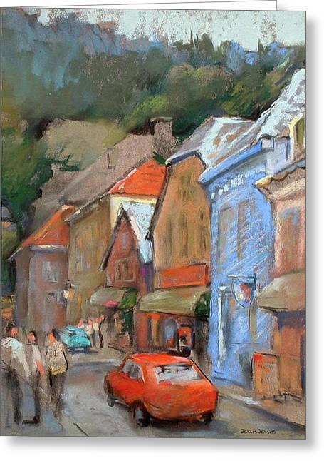 Red Buildings Pastels Greeting Cards - Bergen Sentrum Greeting Card by Joan  Jones