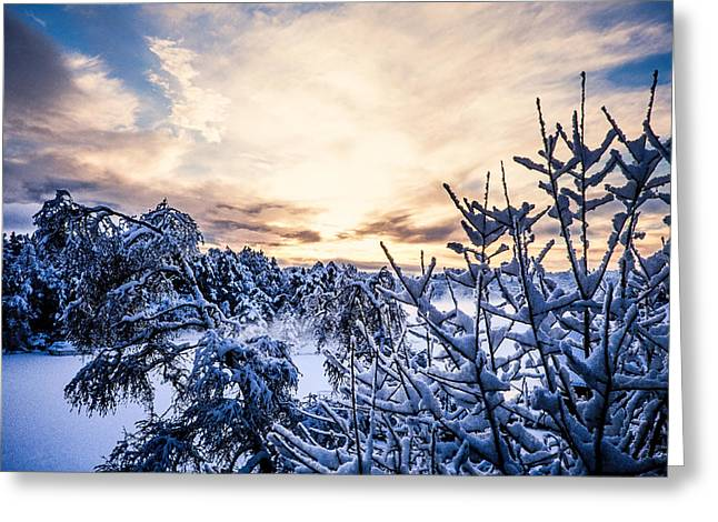 Lightscapes Greeting Cards - Bergen Winter Greeting Card by Hakon Soreide