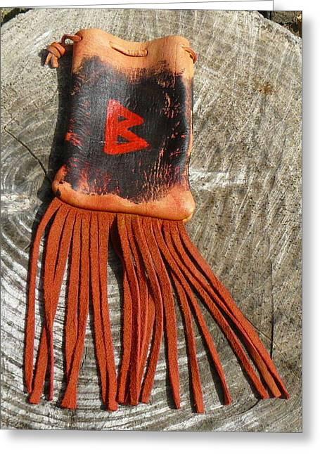 Religion Tapestries - Textiles Greeting Cards - Berkana Rune Bag Greeting Card by Steamy Raimon