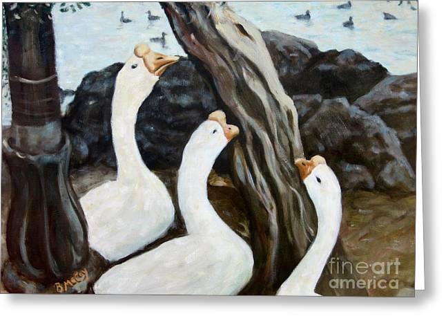 Gnarly Paintings Greeting Cards - Berkely Geese Greeting Card by Brian McCoy