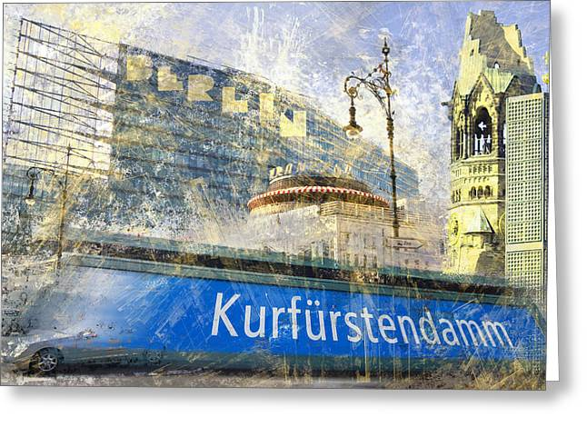 Modern Digital Art Digital Art Greeting Cards - Berlin Composing Greeting Card by Melanie Viola