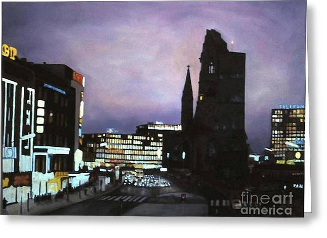 Kudamm Paintings Greeting Cards - Berlin Nocturne Greeting Card by Michael John Cavanagh