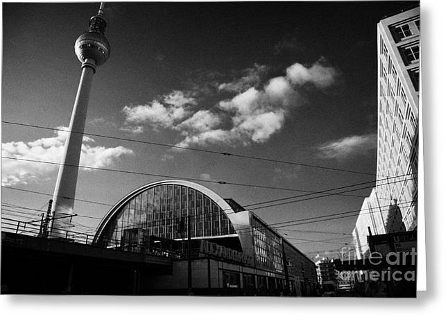berliner fernsehturm Berlin TV tower symbol of east berlin and the Alexanderplatz railway station Greeting Card by Joe Fox