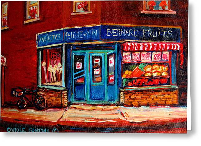 Prince Arthur Street Greeting Cards - BERNARD FRUIT AND BROOMSTORe Greeting Card by Carole Spandau