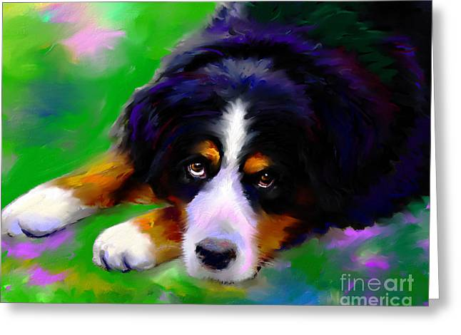 Impressionistic Poster Greeting Cards - Bernese mountain dog portrait print Greeting Card by Svetlana Novikova