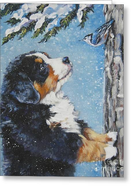 Bernese Mountain Dog Greeting Cards - bernese Mountain Dog puppy and nuthatch Greeting Card by L A Shepard