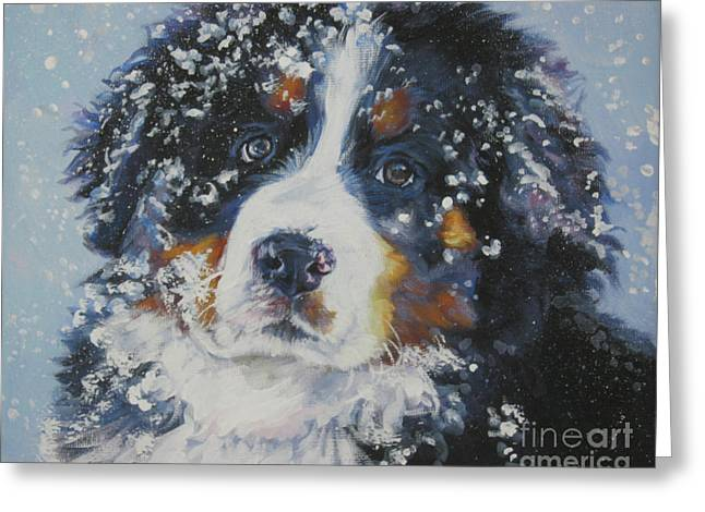 Shepard Greeting Cards - Bernese Mountain Dog Puppy Greeting Card by Lee Ann Shepard