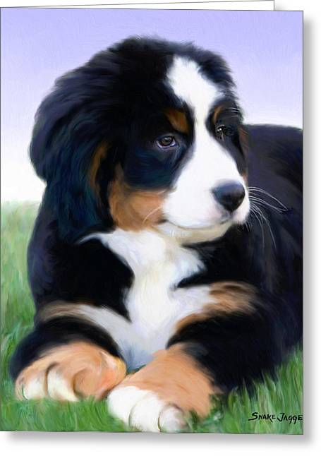 Puppies Mixed Media Greeting Cards - Bernese mountain pup Greeting Card by Snake Jagger
