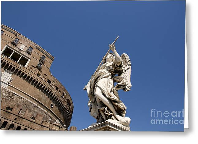 Angelo Greeting Cards - Bernini Statue on the Ponte Sant Angelo Greeting Card by Bernard Jaubert