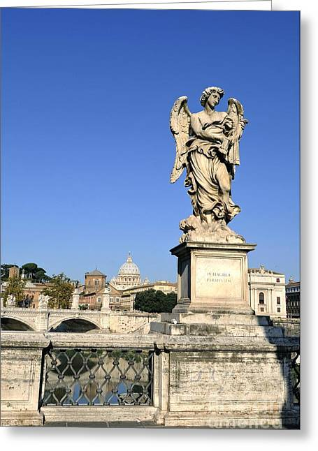 Castel Greeting Cards - Bernini Statue on the Ponte Sant Angelo. River Tiber. Rome Greeting Card by Bernard Jaubert