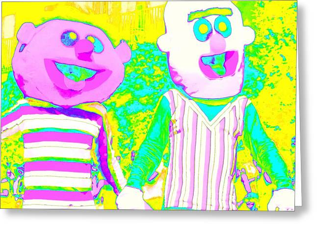 Sesame Street Greeting Cards - Bert And Ernie Hold Hands Greeting Card by Randall Weidner