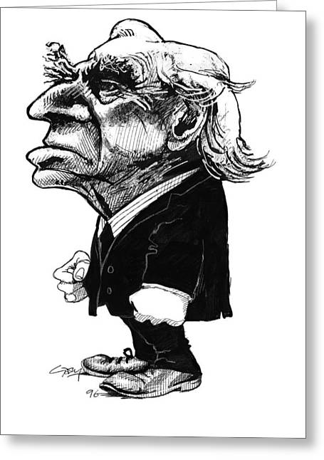 Analytical Thought Greeting Cards - Bertrand Russell, Caricature Greeting Card by Gary Brown