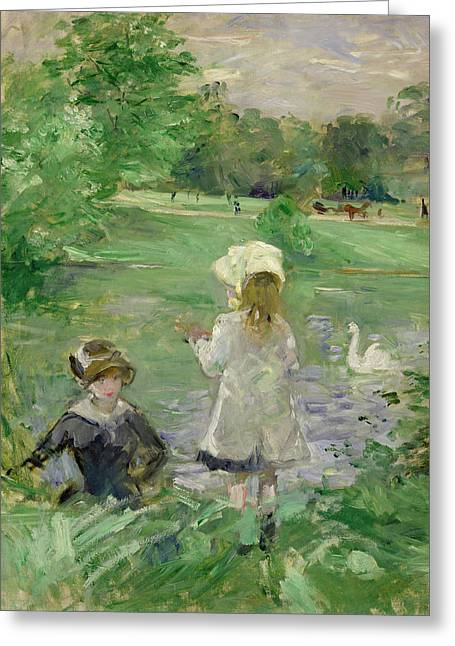 Swans... Greeting Cards - Beside a Lake Greeting Card by Berthe Morisot
