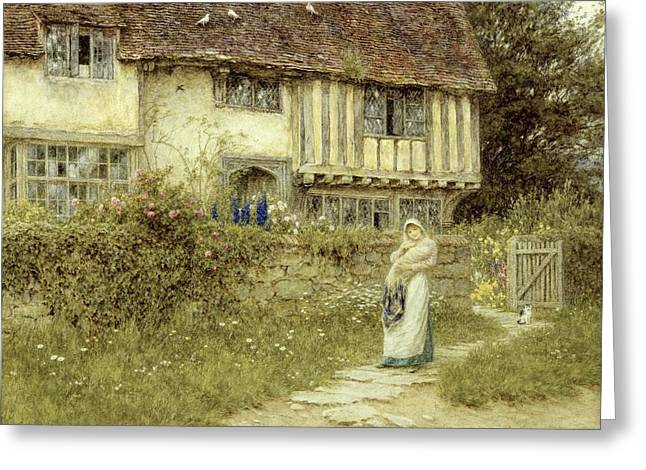 Beside the Old Church Gate Farm Smarden Kent Greeting Card by Helen Allingham