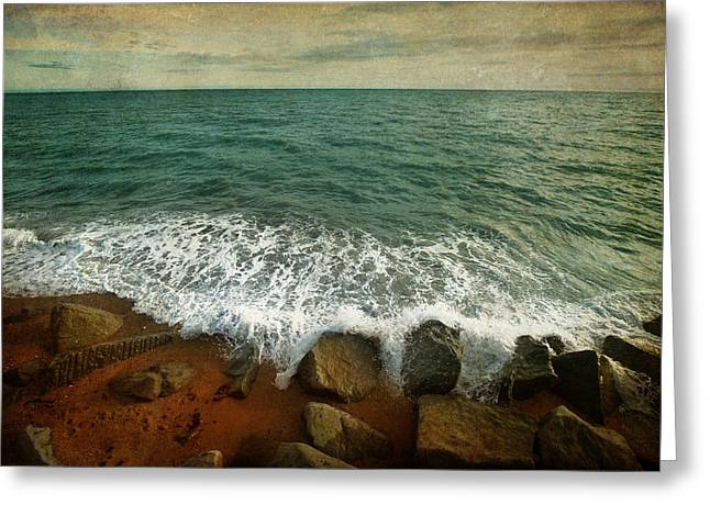 Abstract Beach Landscape Greeting Cards - Beside the Sea IV Greeting Card by Sharon Johnstone