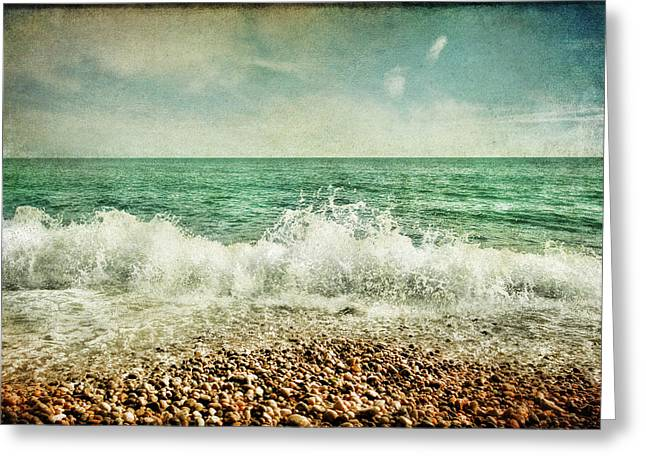 Blue Green Wave Greeting Cards - Beside the Sea V Greeting Card by Sharon Johnstone