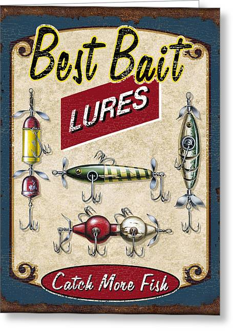 Old Paintings Greeting Cards - Best Bait Lures Greeting Card by JQ Licensing
