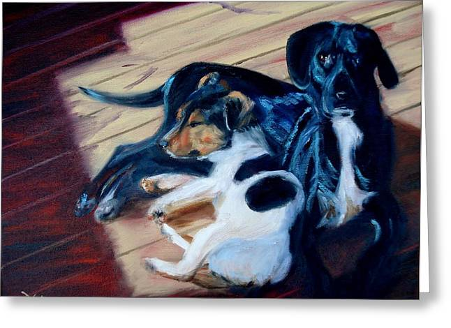 Puppies Paintings Greeting Cards - Best Buddies Greeting Card by Donna Tuten