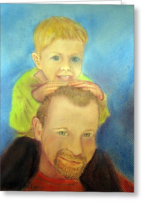 Father Pastels Greeting Cards - Best Buddies Greeting Card by Loretta Luglio