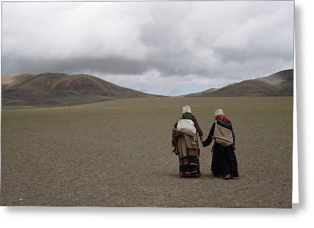 Tibetan Woman Greeting Cards - Best Friends Hold Hands As They Walk Greeting Card by Lynn Johnson