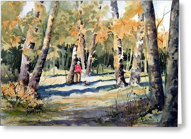 Dog Walking Paintings Greeting Cards - Best Friends Greeting Card by Sam Sidders
