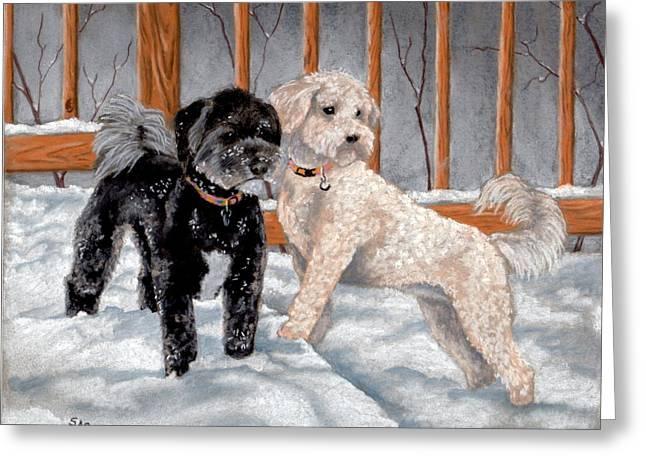 Puppies Pastels Greeting Cards - Best Friends Greeting Card by Sherri Strikwerda