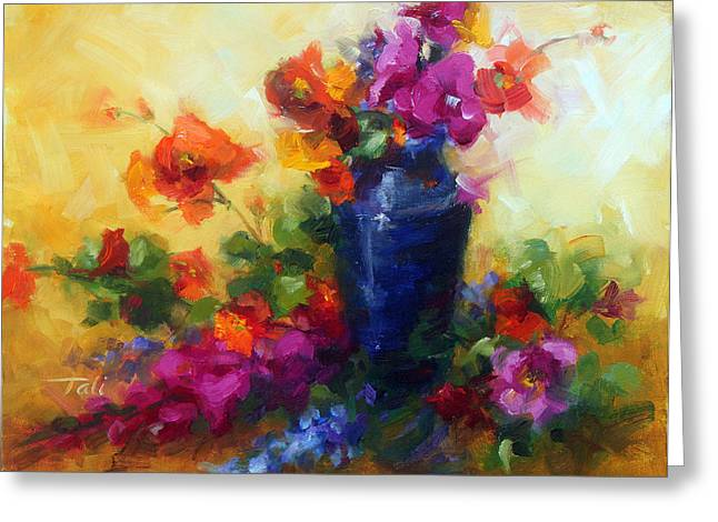 Gladiolas Paintings Greeting Cards - Best Friends Greeting Card by Talya Johnson